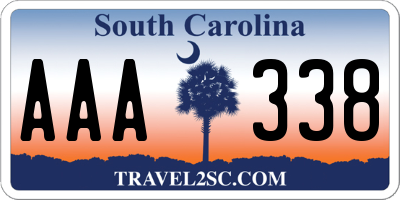 SC license plate AAA338