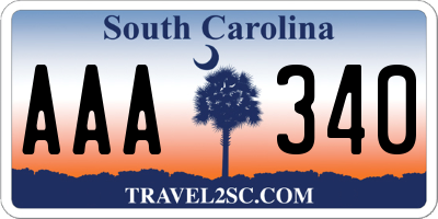 SC license plate AAA340