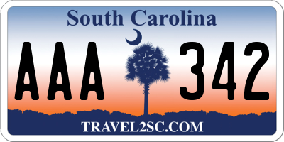 SC license plate AAA342