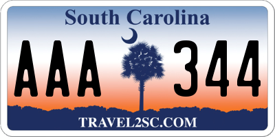 SC license plate AAA344