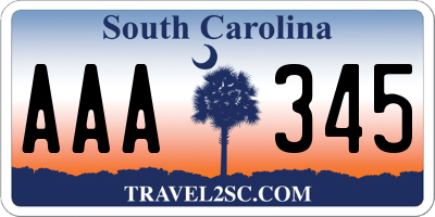 SC license plate AAA345