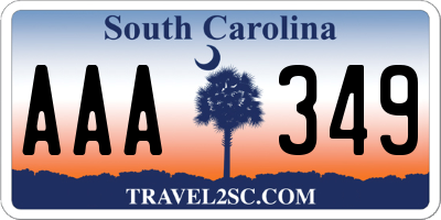 SC license plate AAA349