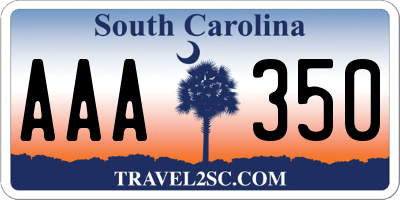 SC license plate AAA350