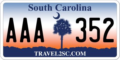 SC license plate AAA352