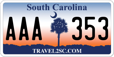 SC license plate AAA353