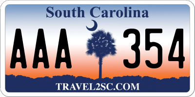 SC license plate AAA354
