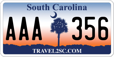 SC license plate AAA356