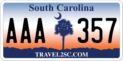 SC license plate AAA357