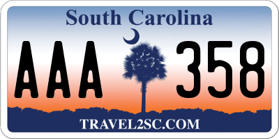 SC license plate AAA358