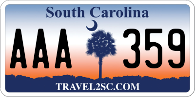 SC license plate AAA359