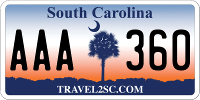 SC license plate AAA360
