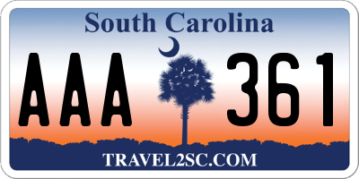 SC license plate AAA361