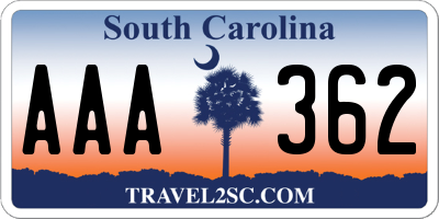 SC license plate AAA362