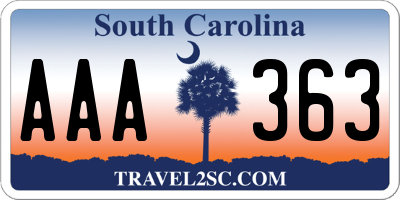 SC license plate AAA363