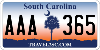 SC license plate AAA365