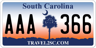 SC license plate AAA366