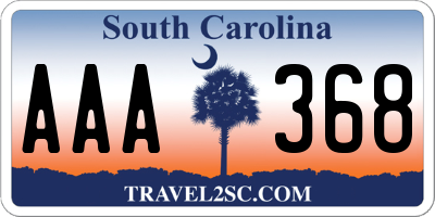 SC license plate AAA368