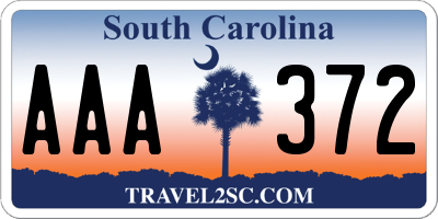 SC license plate AAA372