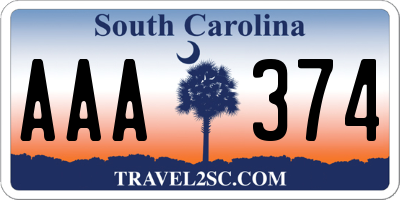 SC license plate AAA374