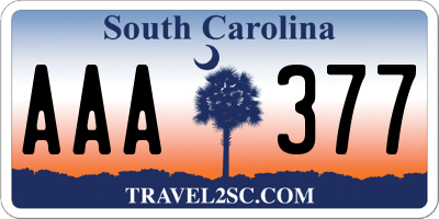 SC license plate AAA377