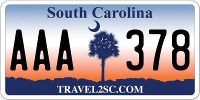 SC license plate AAA378