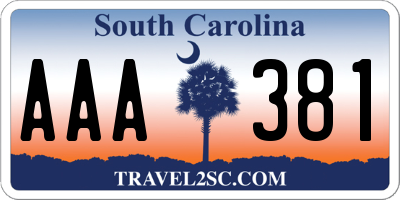 SC license plate AAA381