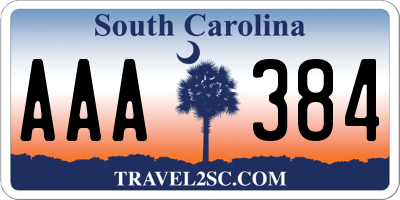 SC license plate AAA384