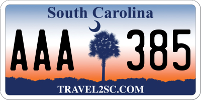 SC license plate AAA385