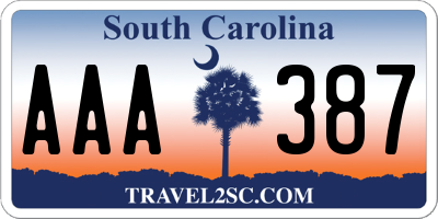 SC license plate AAA387
