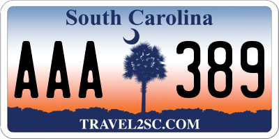 SC license plate AAA389