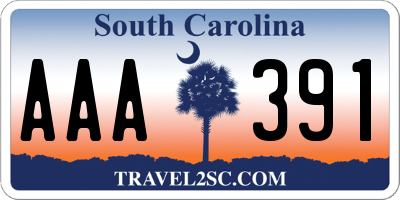 SC license plate AAA391