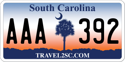 SC license plate AAA392