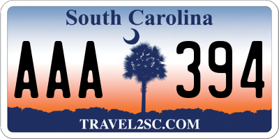 SC license plate AAA394