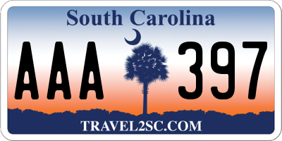 SC license plate AAA397