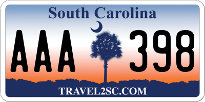 SC license plate AAA398