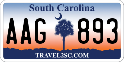 SC license plate AAG893