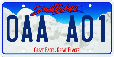 SD license plate 0AAA01