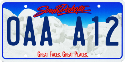 SD license plate 0AAA12