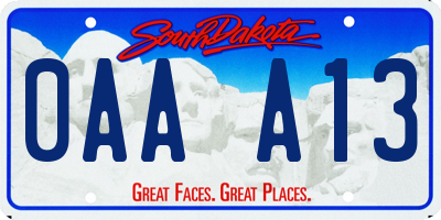 SD license plate 0AAA13
