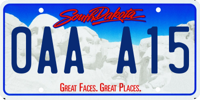 SD license plate 0AAA15