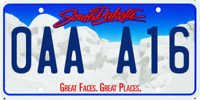 SD license plate 0AAA16