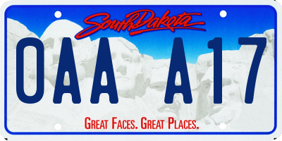 SD license plate 0AAA17