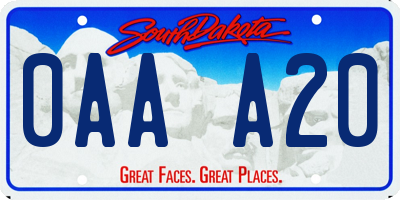 SD license plate 0AAA20
