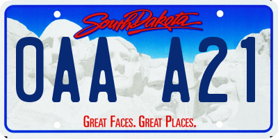SD license plate 0AAA21
