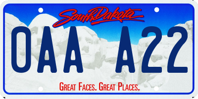 SD license plate 0AAA22