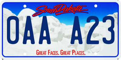 SD license plate 0AAA23