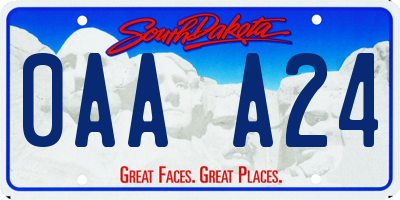 SD license plate 0AAA24