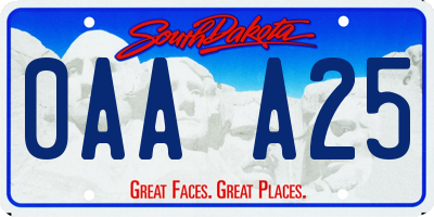 SD license plate 0AAA25