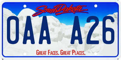 SD license plate 0AAA26