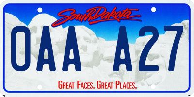 SD license plate 0AAA27